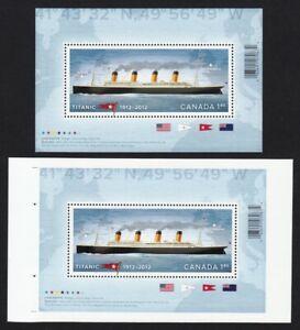 TITANIC-pair-of-Regular-amp-UnCut-Sheet-Souvenir-Sheet-Canada-2012-2535-2535ii