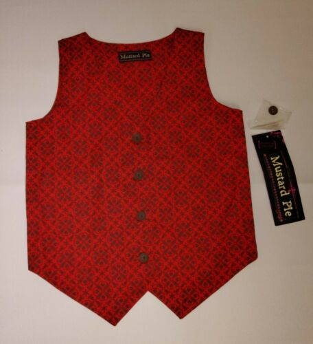 MUSTARD PIE BOYS RED HOLIDAY VEST SZ 6X
