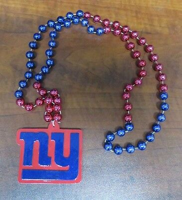 NFL NEW YORK GIANTS MARDI GRAS BEADS with MEDALLION NECKLACE NFL FOOTBALL (Football Bead Necklaces)