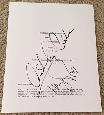 Anthony Anderson   Tracee Ellis Ross Signed Blackish Full Pilot Script W Proof
