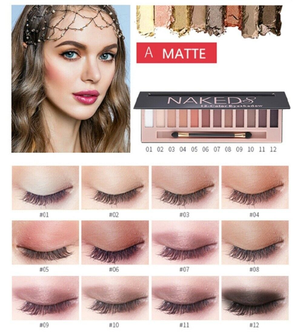 12 Colors Shimmer Or Matte Eyeshadow Makeup Palette Long Lasting Eye Shadow US Eye Shadow