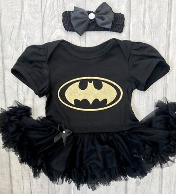Batman Baby Costume (BATMAN TutuRomper Dress BABY GIRL Newborn Princess Gift SUPERHERO Marvel)