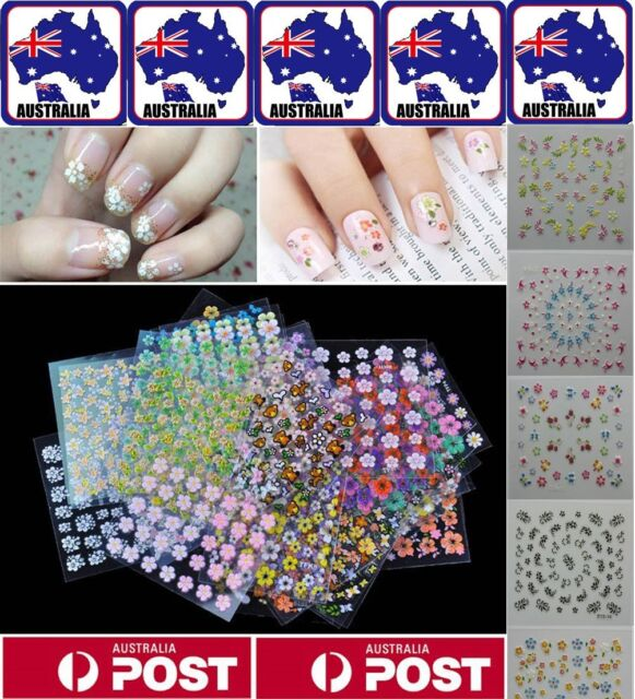50 Sheets Nail Stickers Art Transfer 3D Manicure Tips Decal Decorations Tools