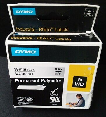 Genuine-DYMO Industrial Rhino Label Makers, Black on Clear, 3.75