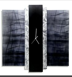 Modern Metal Art Wall Clock ULTRA COOL Black Silver Grey Decor SIGNED Jon Allen