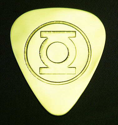 GREEN LANTERN - Solid Brass Guitar Pick, Acoustic, Electric, Bass