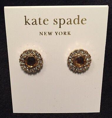 KATE SPADE~Gold Tone~Mini Rhinestones~Amber Rhinestone Pierced Earrings~NWT