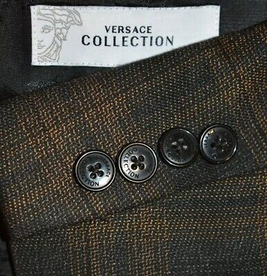 40S *Tailored* Versace Collection Brown Plaid 2 PIECE SUIT Flat Front 34 LNWOT