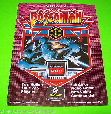 BOSCONIAN By MIDWAY 1981 ORIGINAL NOS VIDEO ARCADE GAME PROMO FLYER BROCHURE