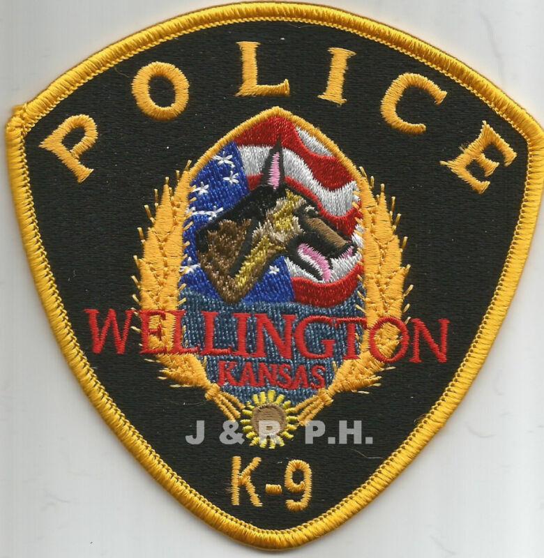"""Wellington  K-9 Unit, Kansas (4"""" x 4"""" size)  shoulder police patch (fire)"""