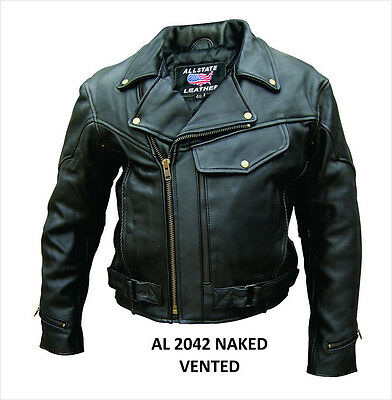 Men's Classic Drum Dyed Naked Cowhide Leather Motorcycle Jacket