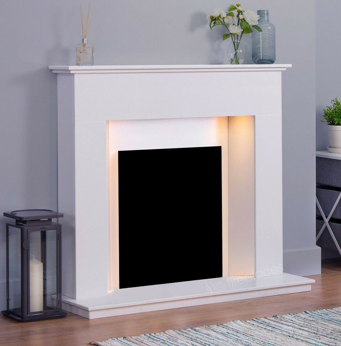 White Marble Stone Modern Surround Electric Fire Wall Fireplace Suite Downlights Ebay