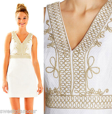 $228 Lilly Pulitzer Aveline Resort White Gold Corded Lace V-Neck Shift Dress Dress White Gold Necklace