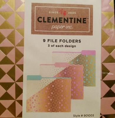 Clementine Paper File Folders 9 Ct Set Featuring Triangles And Dots New