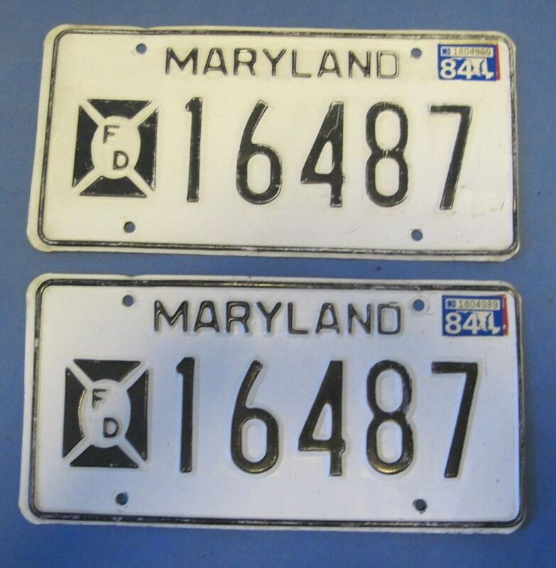 1984 Maryland License Plates Fire Department matched pair