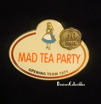Disney Alice in Wonderland Cast Name Tag Mad Tea Party Opening Team Pin 84964