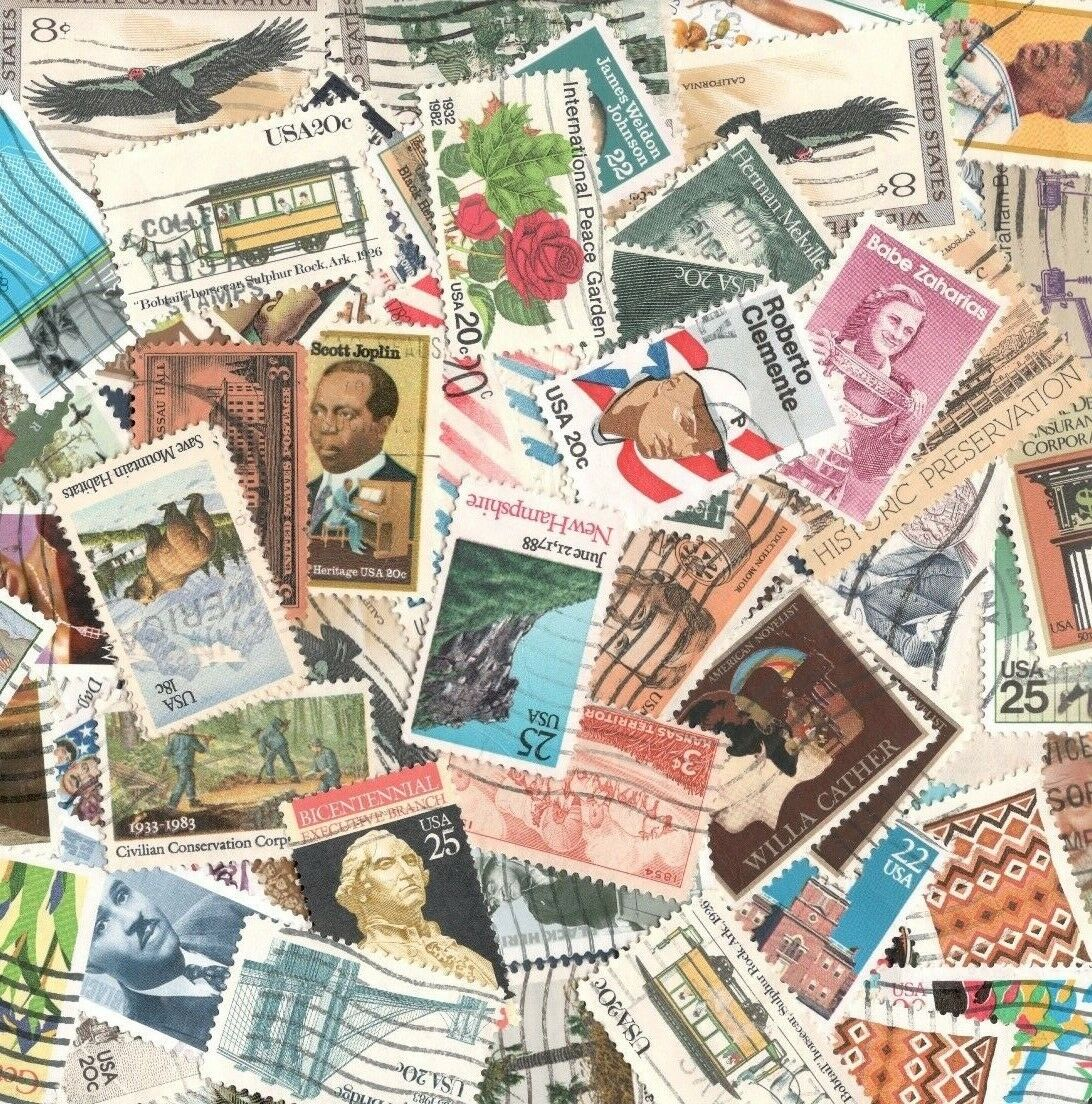Vintage Mixed Lot Of 60-65 Used US Postage Stamps In Glassine Envelope