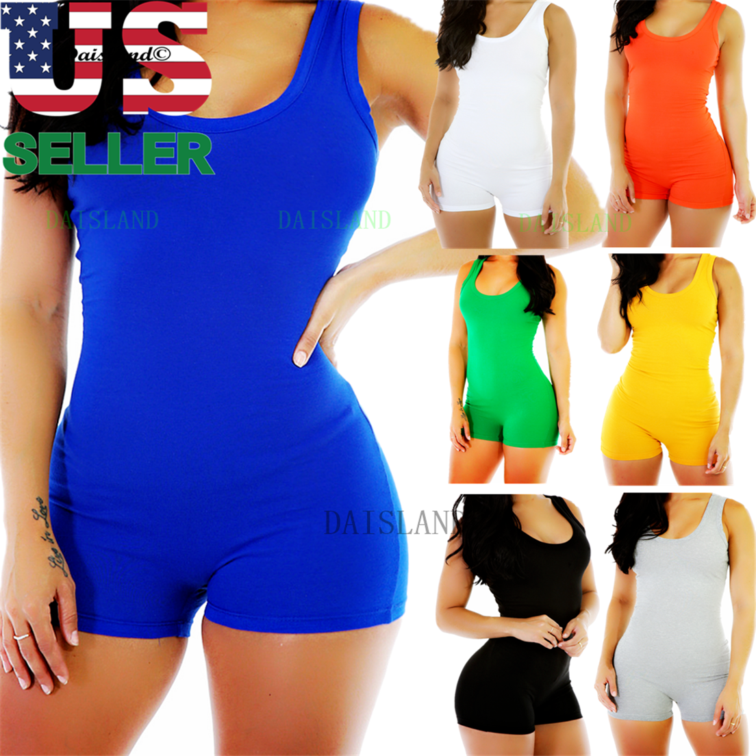 Short Romper Jumpsuit Leotard Sleeveless Top Women Stretch B