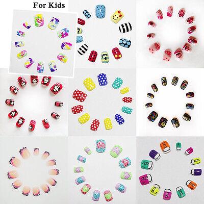 For Kids Grils Cute Pre-design French Short False Full Nails Art Tips Sticker