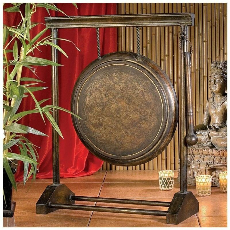 "24"" Chinese ASIAN AUTHENTIC METAL GONG FENG SHUI DECOR W/ METAL BEATER MALLET"
