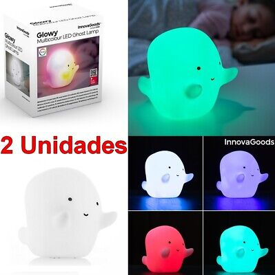 2 x Lampara infantil Fantasma LED quitamiedos Multicolor 13x11x9 cm,pilas,vinilo