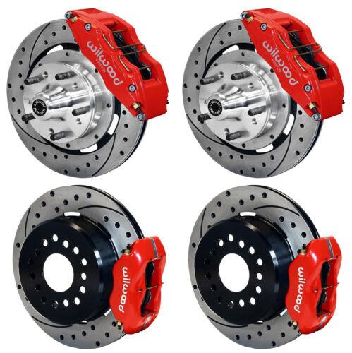 "Wilwood Disc Brake Kit,70-78 Gm,12.19"" Drilled Rotors,6/4 Piston Red Calipers"