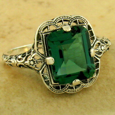 - ART DECO 3 CT GREEN QUARTZ 925 STERLING SILVER ANTIQUE FINISH RING,        #1150