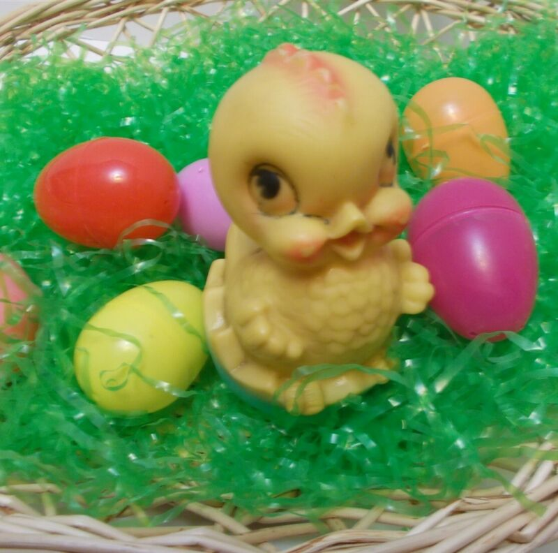 Vintage Easter Decor Cute Chick Hatching from Egg Dreamland Creations 1963 Toy