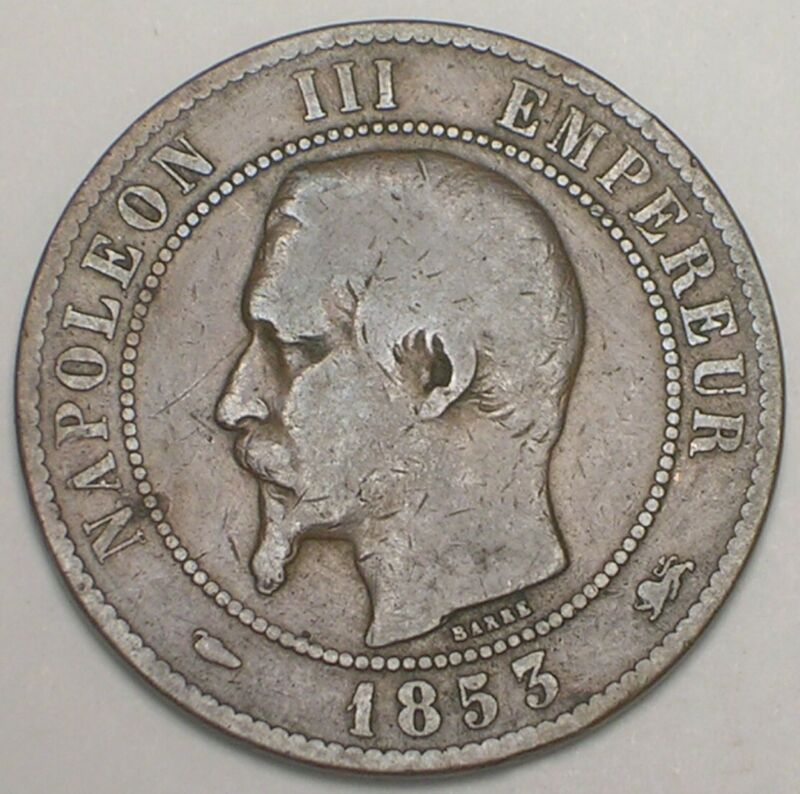 1853 D France French 10 Centimes Napoleon Eagle Coin