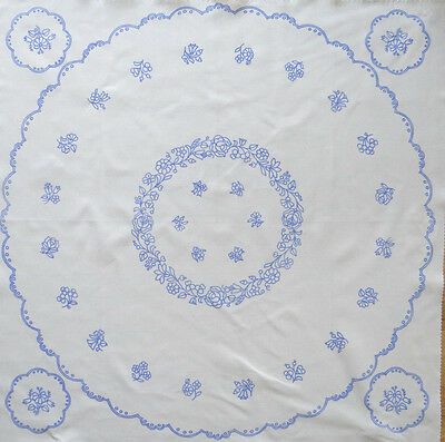 "Used, Kalocsa pattern print from Hungary New  34'' round table top + 4 5"" doilies DIY for sale  Long Beach"