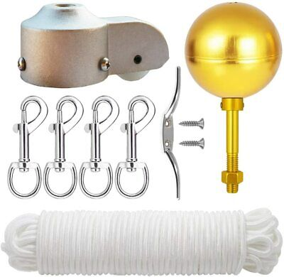 "EKEV Flag Pole Hardware Parts Repair Kits - 3"" Topper Gold Ball + 50 Ft Halyard"
