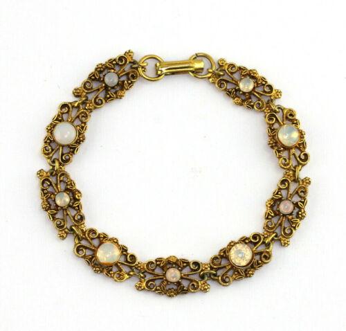 Vintage Signed Florenza Faux Moonstone Gold Tone Finish Link Bracelet
