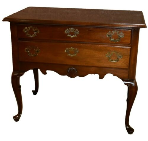 Vintage Mahogany Queen Anne Style Two Drawer Lowboy