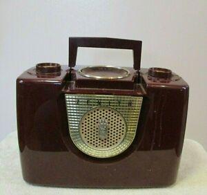 Vintage Burgundy Zenith Tube Radio Model J402R Parts Or Repair