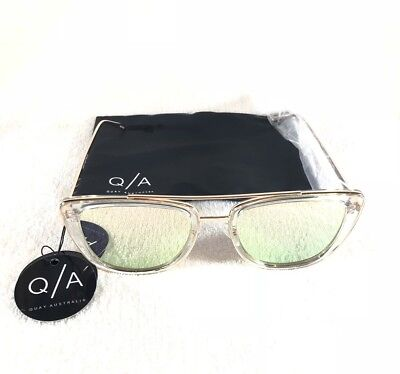 Quay Australia French Kiss Womens Sunglasses Clear Gold Frame Smoke Mirror Lens