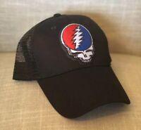 dd9ec226baa GRATEFUL DEAD Trucker Hat Embroidered Patch Cap Music Rock Band Mesh Black  NEW !
