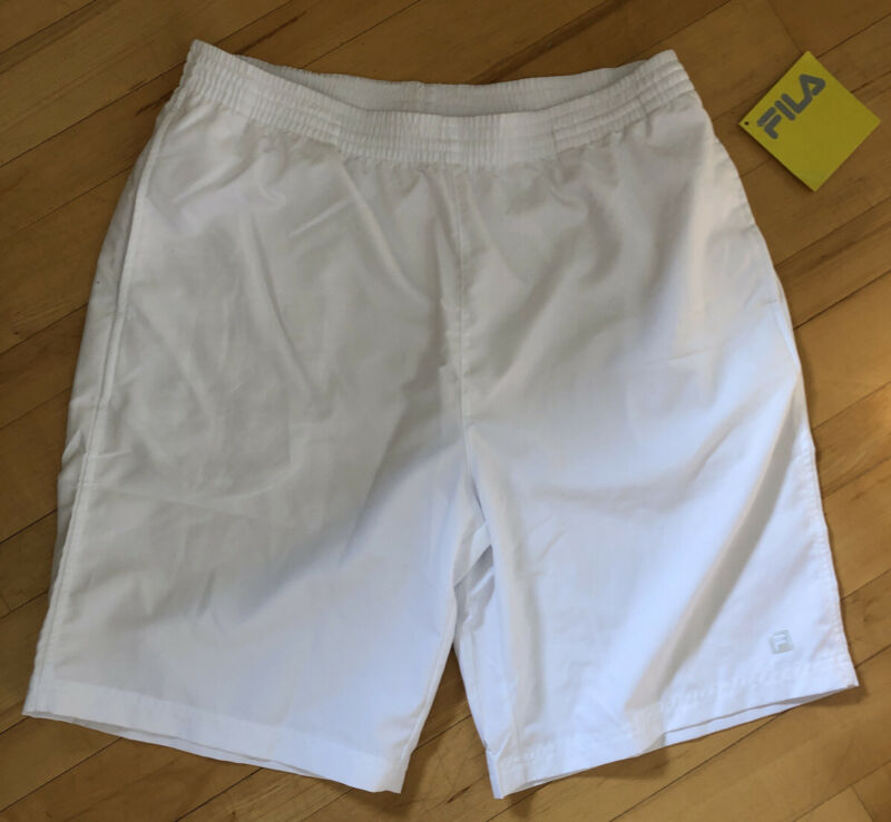 "New Fila Mens Tennis Shorts Medium White Pockets 9"" Inseam Drawstring Hard Court"