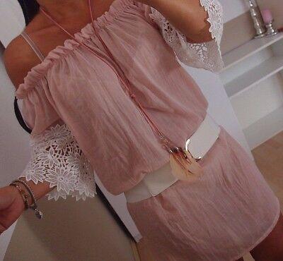 Tunika L 42 Rosa Baumwolle Spitze Sommer Trend Kleid Boho Vintage Strand Bluse ()