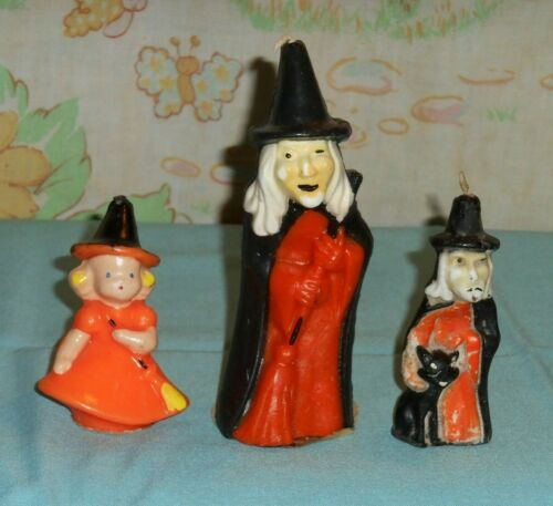 vintage Halloween GURLEY CANDLE LOT x3 different witch witches