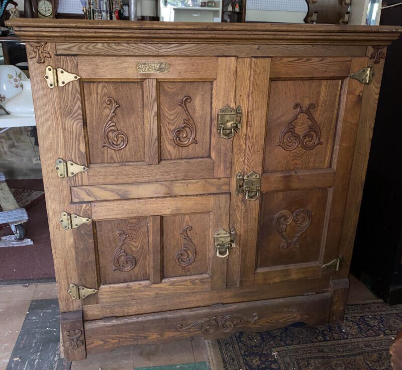 Rare Victorian Antique Household Solid Oak Ice Box Refrigerator Cabinet