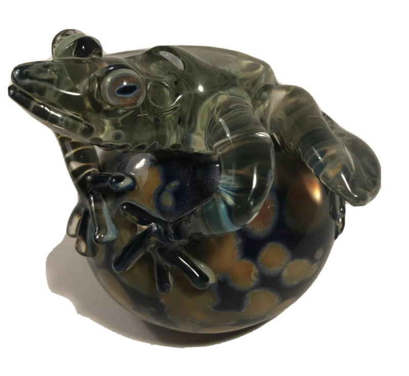Unique Art Glass By Milon Townsend/Blue Moon Paperweight Signed