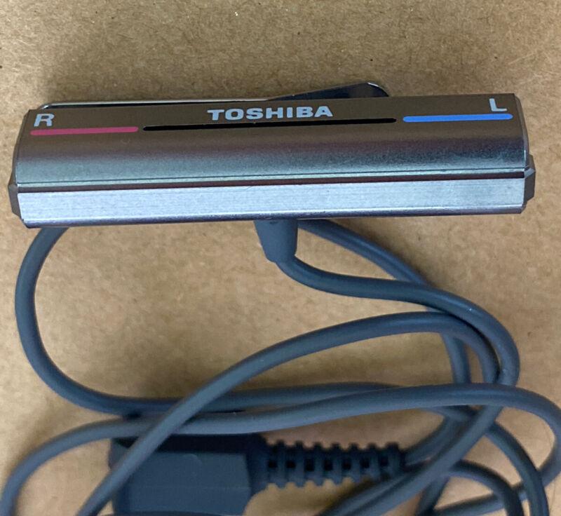 Rare TOSHIBA Microphone Black Clip Stereo Mic 3.5mm Mini Jack Walkman Vintage
