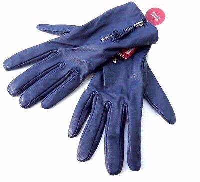 Women's Genuine Sheep Leather Blue Driving Soft Gloves S/M