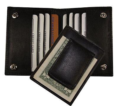 Leather Bifold Magnetic Money Clip Slim Credit Card Id Holder Black Men's Wallet