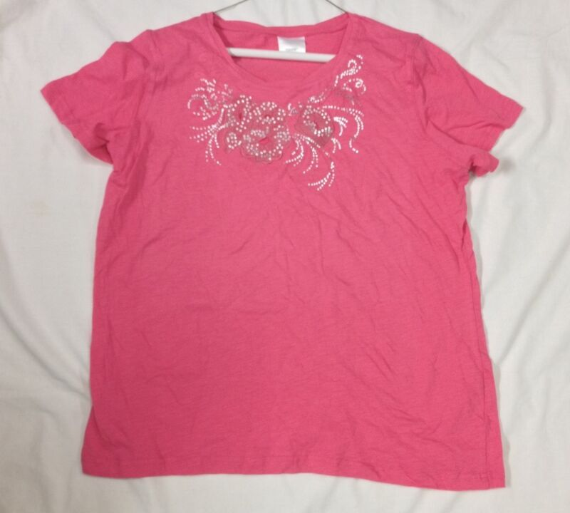 NWOT Pink T-Shirt w/ Pretty Floral Design along Neckline size Large