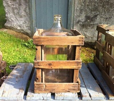 ANTIQUE VTG 5 GALLON GLASS WATER WINE BEER JUG BOTTLE WITH WOOD STORAGE CRATE