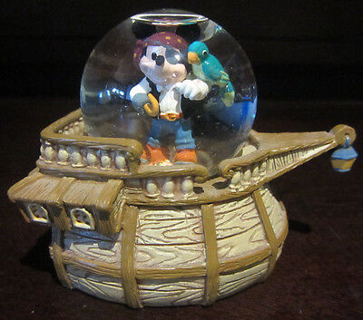RARE Disney Pirate Costume Ship Mickey Mouse Parrot Snowglobe Water Dome Figure - Mickey Mouse Pirate Costume