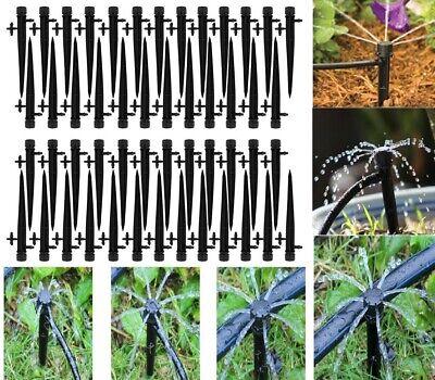 50Pcs Adjustable Water Flow Irrigation Drippers Stake Emitter Drip Sprinklers US