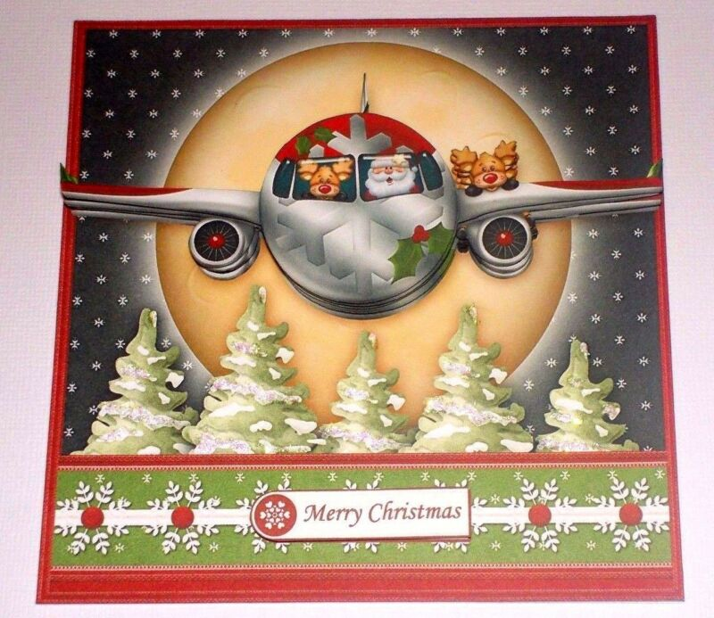 Handmade Greeting Card 3D Christmas With Santa And His Airplane