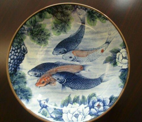 Sun Ceramics Koi Fish Large Serving Bowl Made in Japan